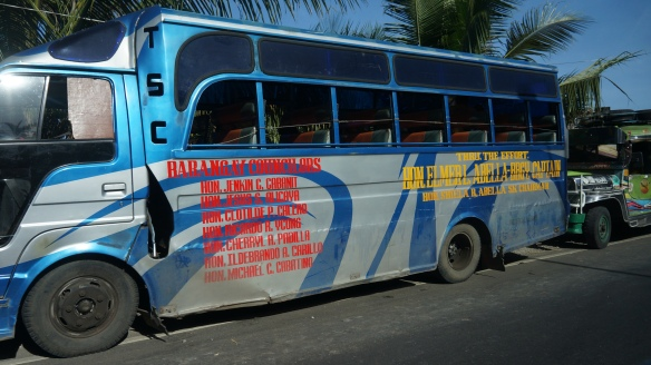 Shabby old buses are standard in the Philippines.