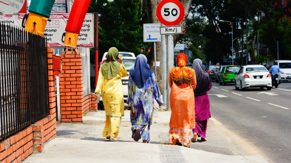 Brightly clothed Malaysian women