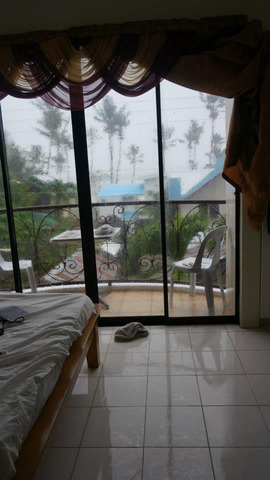 Hibernating in our room during the typhoon